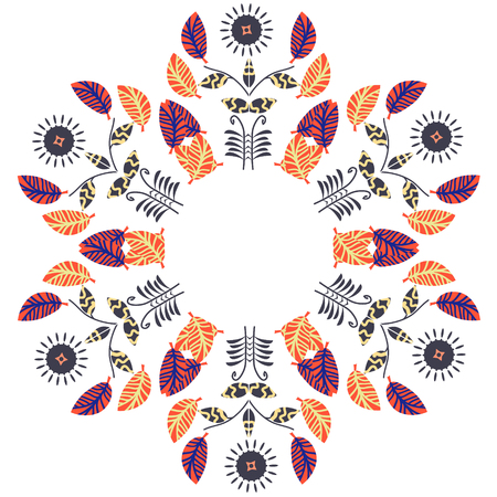 Floral cute circle pattern, vector Illustration