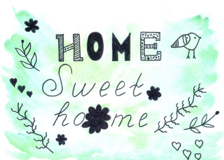 Cute background with words Home sweet home Stock Photo