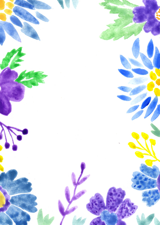 Vivid floral adorable card watercolor painting Stock Photo