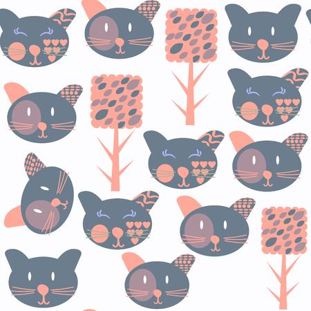 Cat abstract vivid seamless pattern, vector illustration. Cute image Illustration