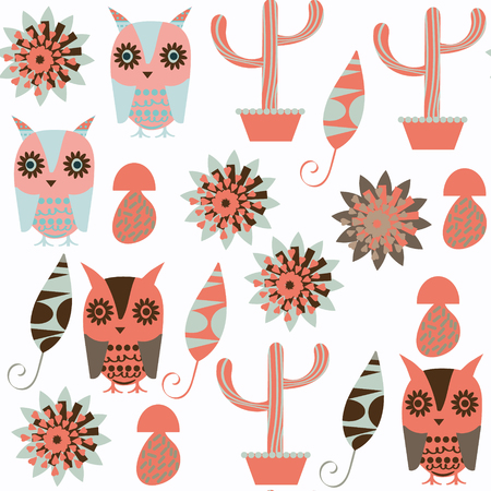 Owls abstract nature animals kids seamless pattern. It is located in swatch menu, vector illustration