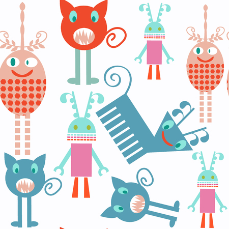 Abstract kids monsters seamless pattern. It is located in swatch menu, vector image
