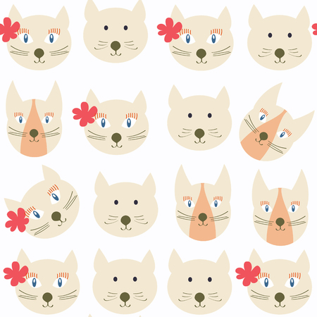 Adorable cats seamless pattern. It is located in swatch menu, vector image
