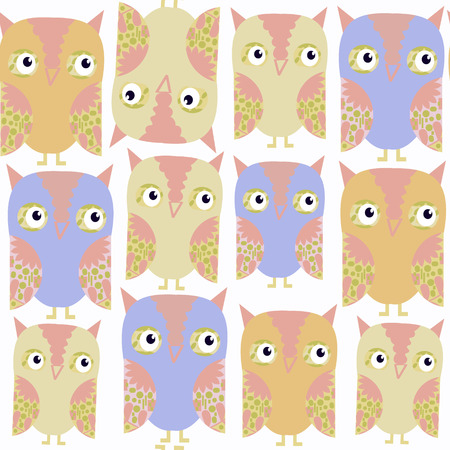 Owls abstract nature seamless pattern. It is located in swatch menu, vector image