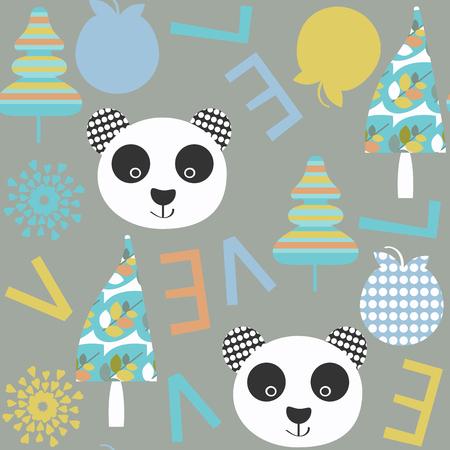 Kids panda seamless pattern. It is located in swatch menu, vector image