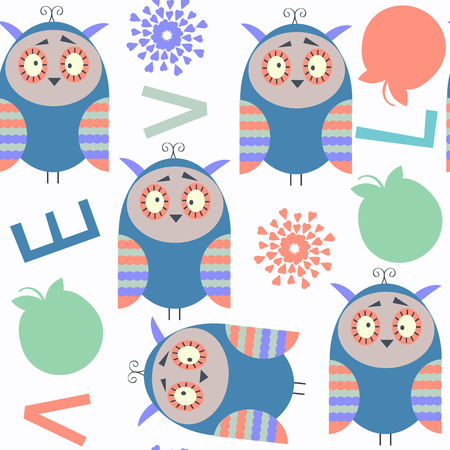 Abstract owls kids cheerful seamless pattern. It is located in swatch menu, vector image. Adorable illustration