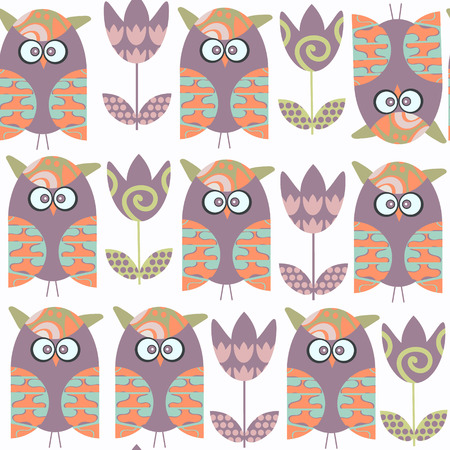 Owls abstract seamless pattern. It is located in swatch menu, vector image Illustration