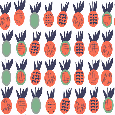Pineapples seamless abstract fruits patten. It is located in swatch menu, vector image Illustration