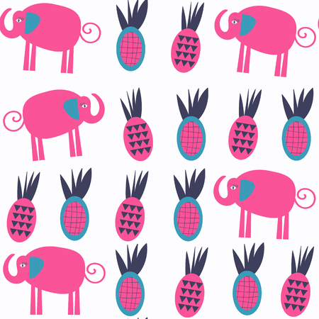 Vivid abstract nature elephants seamless pattern. It is located in swatch menu, vector illustration. Adorable image, background