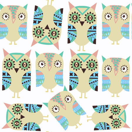 Owls abstract nature fantasy kids pattern. It is located in swatch menu, vector illustration