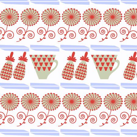 Abstract tea floral illustration. Illustration
