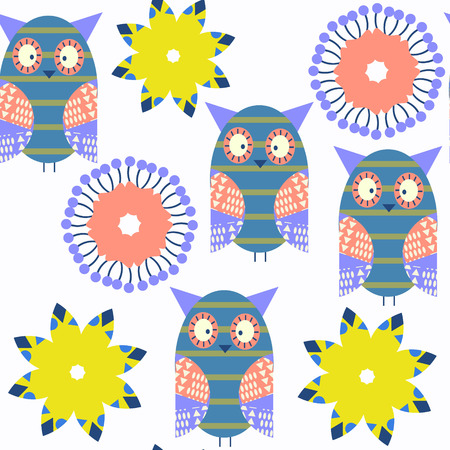 Adorable abstract owls vivid pattern.