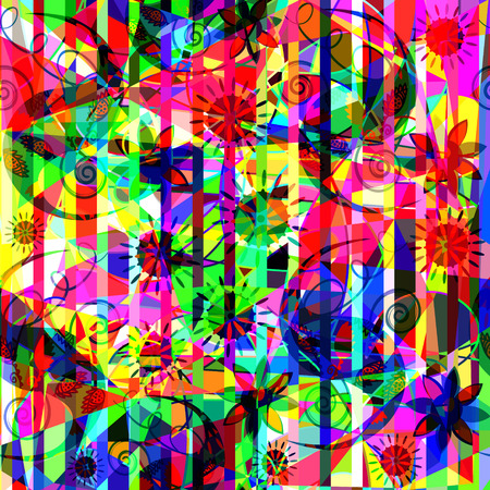 Colorful floral abstract pattern. Illustration