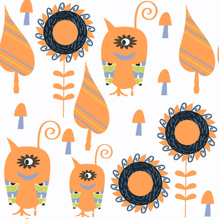 Monsters abstract nature seamless patter. It is located in swatch menu, vector image. Adorable illustration Illustration