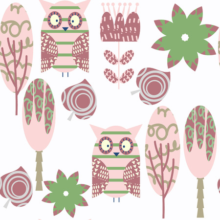 Abstract adorable nature owls seamless pattern. It is located in swatch menu, vector illustration