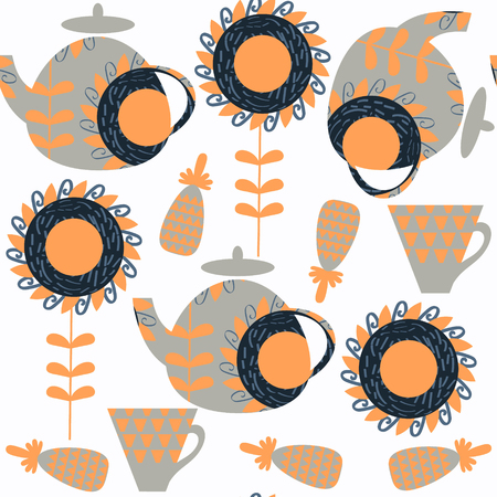 Tea pot seamless pattern, vector image. It is located in swatch menu
