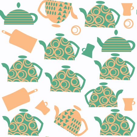 Tea pot seamless abstract pattern. It is located in swatch menu, vector image