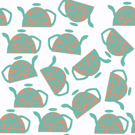 Abstract tea pot vector seamless pattern. It is located in swatch menu, cute design image. Illustration