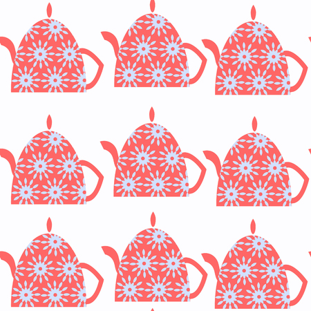 Tea pot abstract vivid seamless pattern. It is located in swatch menu, vector image.