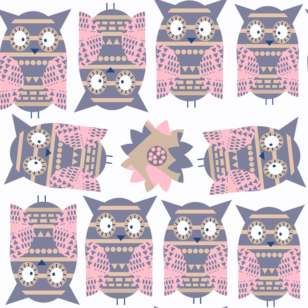 Abstract cartoon nature fantasy owls seamless pattern. It is located in swatch menu, vector image. Adorable background. Cute illustration