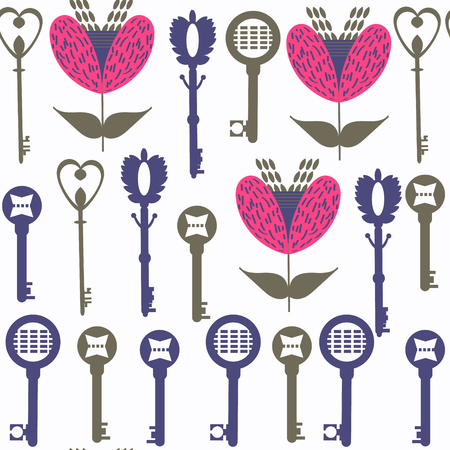 Abstract keys seamless vector pattern. It is located in swatch menu. Vintage background for design Illustration