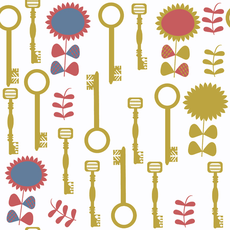 Keys abstract vector seamless pattern. It is located in swatch menu. Cute background
