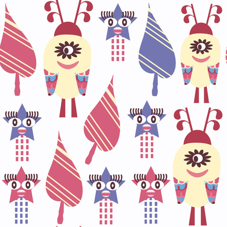 Abstract monsters seamless pattern. It is located in swatch menu, vector illustration. Cute background