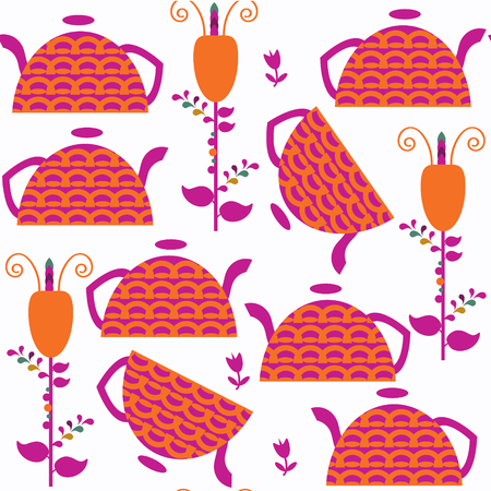 Abstract adorable tea pot seamless pattern. It is located in swatch menu, vector image