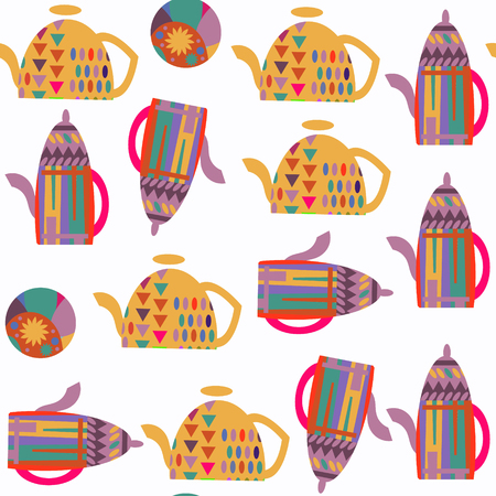 Abstract tea pot seamless pattern. It is located in swatch menu, vector image. Colorful background for beautiful design