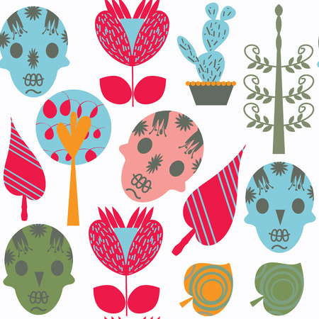 Fantasy abstract sugar skulls seamless pattern. It is located in swatch menu, vector image. Adorable background for funny design