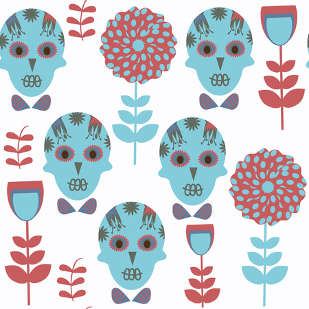 Sugar skulls fantasy seamless pattern. It is located in swatch menu, vector. Abstract background Illustration