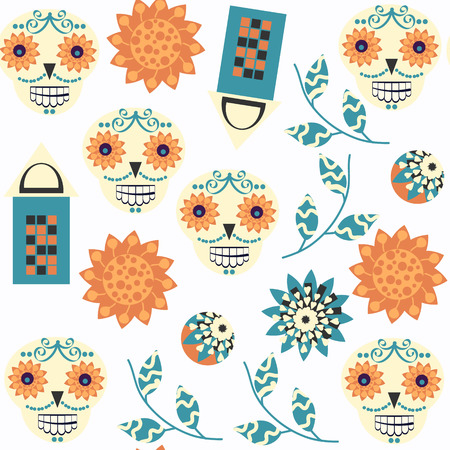Abstract sugar fantasy skulls seamless pattern. It is located in swatch menu, vector image
