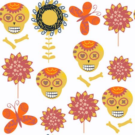 Sugar skulls seamless pattern