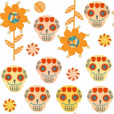 Sugar skulls seamless pattern.