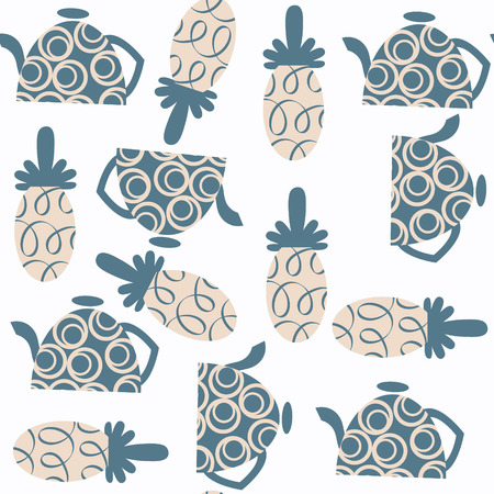 Tea pot seamless pattern. It is located in swatch menu, vector image