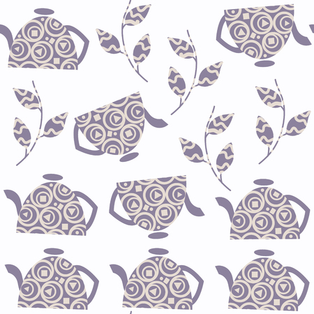 Abstract tea pot seamless vector pattern. It is located in swatch menu