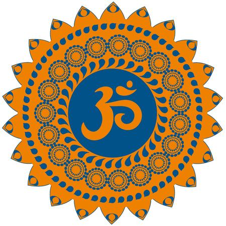 Ornate colorful decorative indian mandala with om sign, aum simbol. Isolated on white background. Illustration
