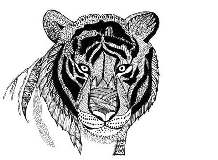 Tiger painted , Handmade illustration with animal