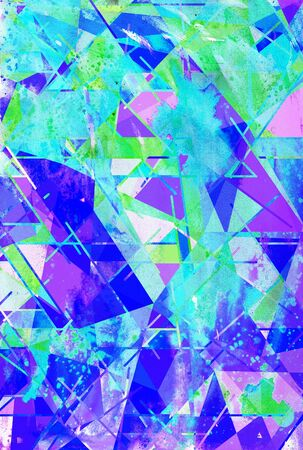 Geometric multicolor abstract watercolor background with lines  and triangles