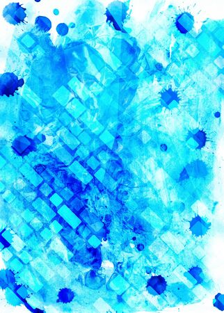 Watercolour blue grunge geometrical handmade painting image for different design Stock fotó
