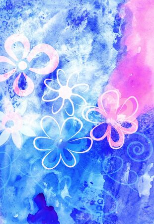 Watercolor colorful floral background. Vivid illustration