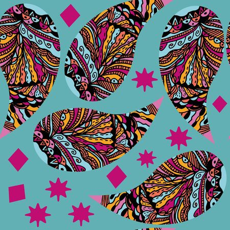 Colorful Paisley seamless pattern. It is located in swatch menu. Colorful illustration for design, vector