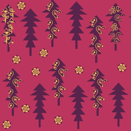 Abstract fantasy trees seamless pattern in vector. It is located in swatch menu