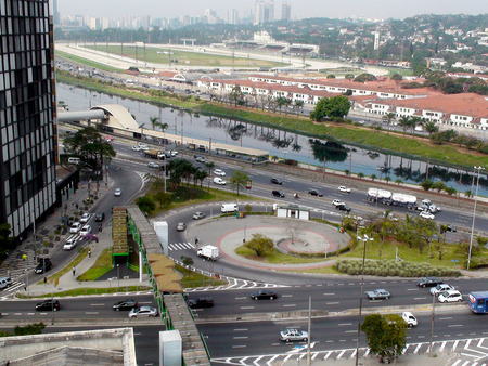 marginal: Cars on the Marginal Pinheiros and side streets, the Pinheiros River and Jockey Club de Sao Paulo - Hippodrome Garden City, Sao Paulo 2014 Editorial