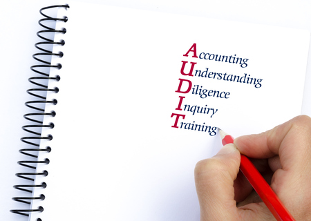 inquiry: Acronym AUDIT as Accounting, Understanding, Diligence, Inquiry, Training. Hand writing with pencil isolated on white. Conceptual image
