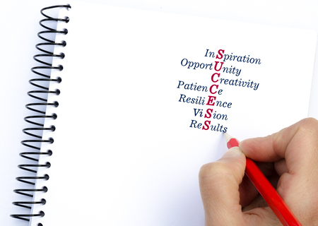 resilience: Acronym SUCCESS Inspiration, Opportunity, Patience, Resilience, Vision, Results. Concept image Stock Photo