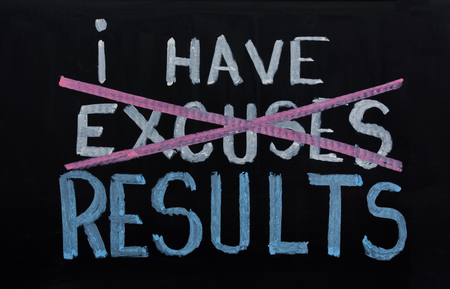 NO EXCUSES. Motivational concept written on chalkboard 스톡 콘텐츠