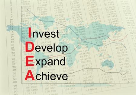 Acronym IDEA - Invest, Develop, Expand, Achieve. Concept