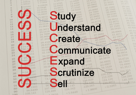 scrutinize: Acronym Success  Study, Understand, Create, Communicate, Expand, Scrutinize, Sell