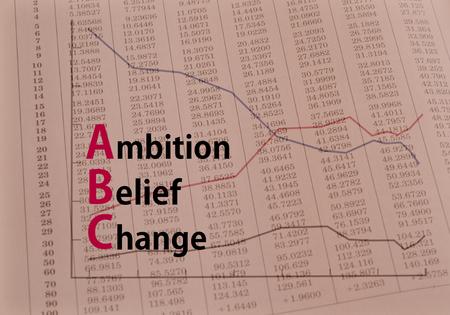 acronym: Acronym ABC Ambition, Belief, Change concept image Stock Photo